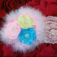Bandana Bayi / baby headband / Bando Bunga mawar mutiara bulu.