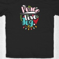 Kaos natal anak dewasa - Peace Love Joy Black