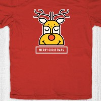Kaos natal anak dewasa - Deer Head Red