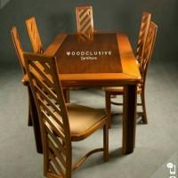 set meja makan kayu jati oblique