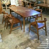 meja makan kayu jati kursi 6