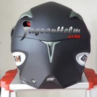 Terlaris GM Helm Airborne SOLID Black DOFF Double Visor Berkualitas