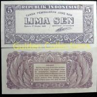 Uang Kuno Indonesia Ori 5 Sen 1945 UNC Koleksi Numismatik