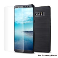 360 carbon fiber protection case samsung galaxy Note 8 + free tempered