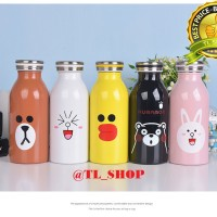 TERMOS LINE BOTOL MINUM AIR PANAS LINE BROWN  350 ML-TLSHOP