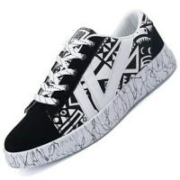 PINSV Sepatu Casual Sepatu Fashion Pria Sepatu Kets (Hitam/Putih)