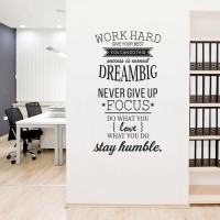 Wall Stiker Quotes Word Hard Dream Sticker Dinding Kaca Decal