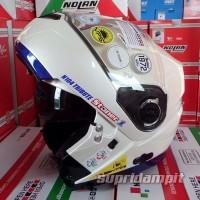 Helm Nolan N104 Tribute Stoner pearl white helm modular touring