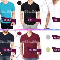 Kaos Pria- V Neck- Polos Katun- S-M-L-XL - Men Tee- Relaxed T-shirt