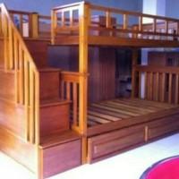 Dipan tingkat tempat tidur susun kamar anak bunkbed ranjang kayu jati