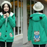 (Sale) Jaket Hoodie CAT MEOW A Tosca