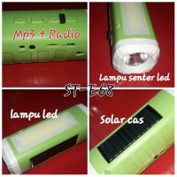 Senter Emergency Lamp Solar Panel Bisa Radio Dan Mp3 'SETSUYAKU' E68