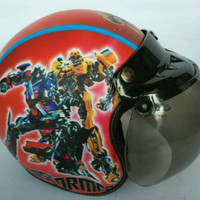 Helm Anak Bogo Motif Usia 2-7 Tahun - Transformer Merah
