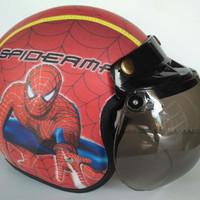 Helm Anak Bogo Motif Usia 2-7 Tahun - half Face Spiderman Merah