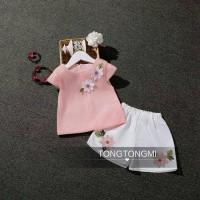 Setelan anak Tongtongmi Baju Anak Import  Flower Pink | Tee Pants Rose