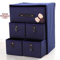 Kotak Serbaguna 5 Laci NAVY BLUE (Kotak utk tempat pakaian dalam)
