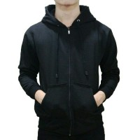 Jaket Sweater Hodie zipper/resleting Hitam