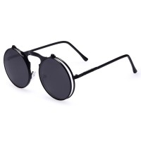 AOFLY Kacamata Bulat Hitam Round Vintage Steampunk Sunglasses