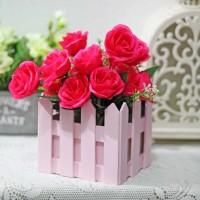 bunga plastik hias artificial + pot pagar kecil mawar rose PINK