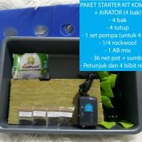 Paket Starter kit Sistem Hidroponik Wick 4 bak + Airator Termurah