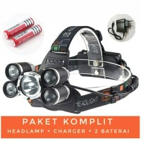 Paket Headlamp Cree XM-L 1T6+4XPE / SENTER KEPALA SUPER TERANG 5