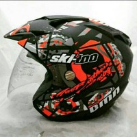 Helm Double Visor Kaca Ski-Doo Orange Doff