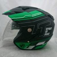 Helm Double Visor Kaca R9 Green Doff