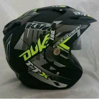 Helm Double Visor Kaca KTM Duke Yellow Stabillo Doff