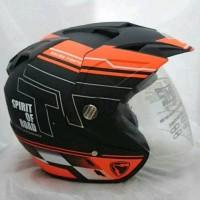 Helm Double Visor Kaca R9 Orange Doff