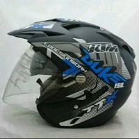 Helm Double Visor Kaca KTM Duke Blue Doff