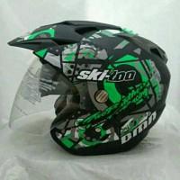 Helm Double Visor Kaca Ski-Doo Green Doff