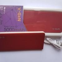 Power bank V-gen V502 5000 MAH merah slim real capacity garansi 1 THN
