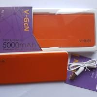 Power bank V-gen V502 5000 MAH orange slim real capacity garansi 1 THN