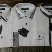 kemeja alisan limited edition putih combinasi slimfit lengan panjang