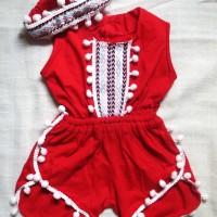 Baju Bayi Perempuan Katun All Size 2-6 Bulan - Jumpsuit Pinguin Red