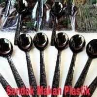 Sendok Makan Plastik HITAM 25 pcs Motif Batik