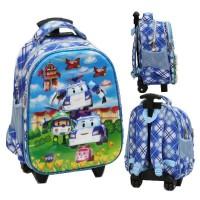 Oke Tas Trolley Anak Sekolah TK Atau Import Robocar Poli 5D