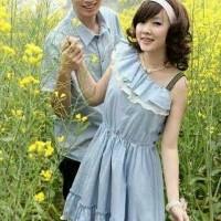 Baju Couple Dress Kemeja Denim Katun Biru Muda Simple Santai/Casual