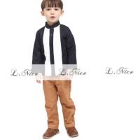 (1-6 tahun) Baju Muslim Anak Laki Koko Lnice Hitam Putih Celana Coklat
