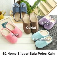 S2 Sendal Rumah Basic Bulu Kain Sandal Kamar Home Slipper Indoor - 42-43, Biru Muda
