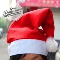 Topi Natal murah / Topi Santa Polos ALL SIZE / merry christmas / bando