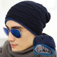 Topi kupluk wool Pria untuk musim dingin / winter - Hitam