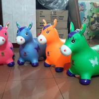 mainan kuda jumping bunyi suara (model kijang / rusa karet, tunggang)