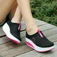sepatu sneaker hitam putih pink wanita kets murah size 36 37 38 39 40