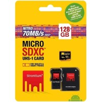 Strontium 128GB NITRO MicroSD with Card Reader up to 70 Limited