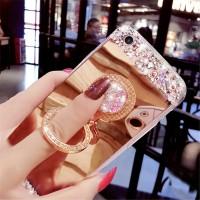 Vivo Y69 Rhinestone Mirror Soft TPU finger ring buckle case