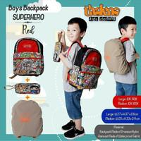Tas sekolah anak, THALUNA Tas Boy Backpack (M), ada cover anti air.