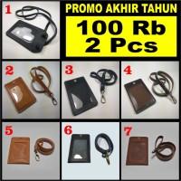 PROMO 100Rb 2 Pcs - gantungan dompet id card holder kulit asli