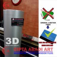 STIKER,STICKER CARBON 3D SILVER DOFT/MATT UNTUK MOBIL,MOTOR L-150CM