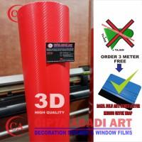 STIKER,STICKER CARBON 3D MERAH DOFT/MATT UNTUK MOBIL,MOTOR L-150 CM